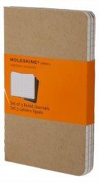 Бележник Moleskine Ruled Cahier Journal Kraft Large: set of 3 Ruled Journals [Paperback] 4987