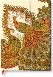 Бележник Paperblanks Swirling Peacock Ivory Midi Wrap, Lined / 5484